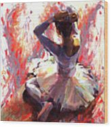 Ballet Dancer Siting  Wood Print