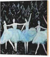 Ballet In Blue Wood Print