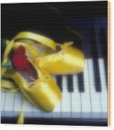 Ballet Shoes On Piano Keys Wood Print by Garry Gay