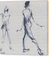 Ballet Sketch Tendu Back Wood Print