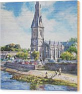 Ballina Cathedral On River Moy Wood Print