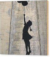 Ballons Girl Wood Print
