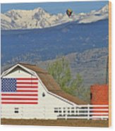 Balloon Barn And Mountains Wood Print