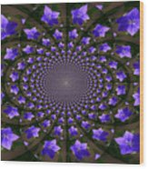 Balloon Flower Kaleidoscope Wood Print