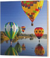 Balloon Reflections Wood Print by Mike  Dawson