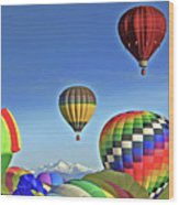 Ballooning Above Longs Peak Wood Print
