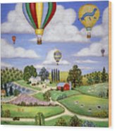 Ballooning In The Country One Wood Print