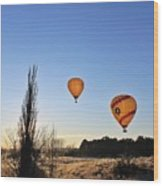 Balloons At Sunrise Wood Print