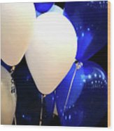 Balloons Of Blue And White Wood Print