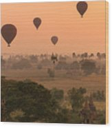 Balloons Sky Wood Print