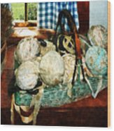 Balls Of Cloth Strips In Basket Wood Print