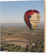 Baloon Riding  Over Temecula Ca Wood Print