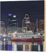 Baltimore Harbor At Night Wood Print