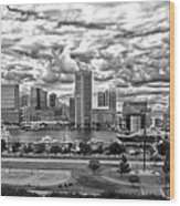 Baltimore Inner Harbor Dramatic Clouds Panorama In Black And White Wood Print