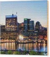 Baltimore Inner Harbor Reflections Wood Print