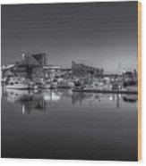 Baltimore Inner Harbor Skyline At Dawn Panoramic Iv Wood Print