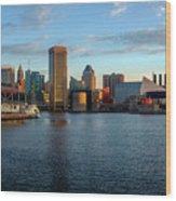 Baltimore Inner Harbor Sunrise Wood Print