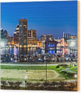 Baltimore Skyline Panorama At Dusk Wood Print