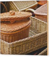 Bamboo Baskets Wood Print
