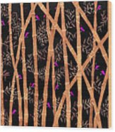 Bamboo Forest At Night Wood Print