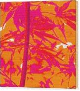 Bamboo Like Leaves Orange Wood Print