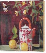 Bamboo Teapot With Lemons Wood Print