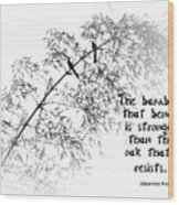 Bamboo Tree With Two Birds Bends In The Wind Wood Print