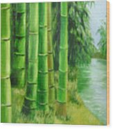 Bamboos By The River Wood Print