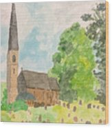 Bamford Church And Serenity Of Nature Wood Print