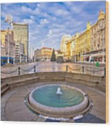 Ban Jelacic Square In Zagreb Advent View Wood Print
