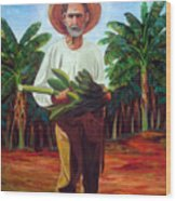 Banana Farmer Wood Print