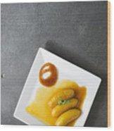 Banana Flambee With Caramel Asian Dessert Wood Print