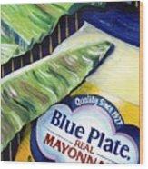 Banana Leaf Series - Blue Plate Mayo Wood Print by Terry J Marks Sr