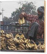 Banana Man On Cart In India Wood Print