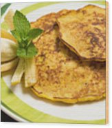 Banana Pancakes Closeup Wood Print