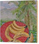 Bananas On A Plate Wood Print