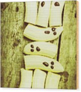 Bananas With Painted Chocolate Faces Wood Print
