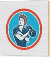 Bandana Woman Lifting Dumbbell Circle Retro Wood Print