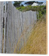 Bandon Beach Fence Wood Print
