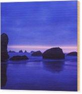 Bandon Beach Oregon Blue Sunset Wood Print