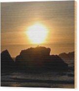 Bandon Beach Silhouette Wood Print