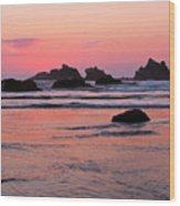 Bandon Beach Sunset Silhouette Wood Print