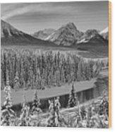 Banff Bow River Black And White Wood Print