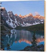 Banff - Moraine Lake Sunrise Wood Print by Terry Elniski