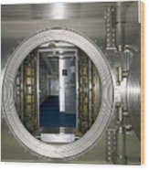 Bank Vault Interior Wood Print by Adam Crowley