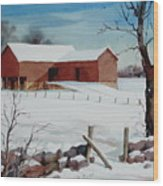 Bankbarn In The Snow Wood Print