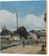 Banks Of The Oise At Pontoise Wood Print
