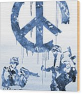 Banksy Soldiers-blue Wood Print