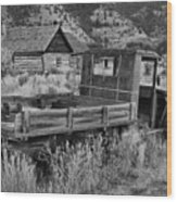 Bannack Extended Parking Black And White Wood Print