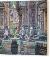 Banteay Srey Temple Pink Monkeys Wood Print